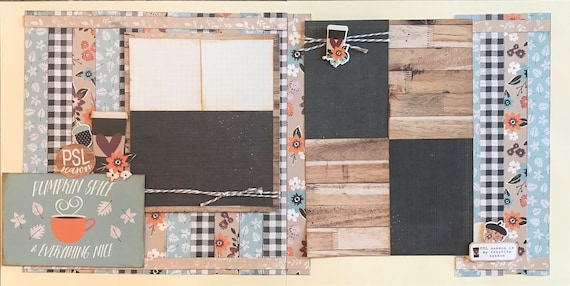 Pumpkin Spice and Everything Nice - PSL 2 Page Scrapbooking Layout Kit or Pre Made Scrapbooking Pages