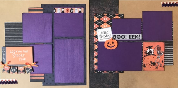 Look On The Spooky Side 2 Page Scrapbooking Layout Kit or Premade Scrapbooking Pages