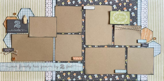 Our Family Has Grown by 2 Feet - 2 page Scrapbooking Layout Kit or Pre Made Pages