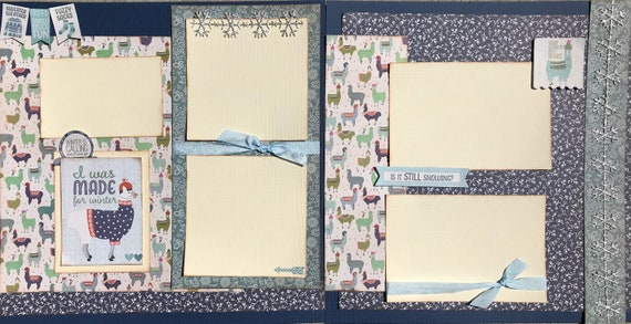I was Made for Winter - Is it Still Snowing?, 2 Page Scrapbooking Layout Kit or Premade Pages