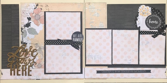 Love Grows Here - We are Family  2 page scrapbooking layout kit or Premade Scrapbooking Pages