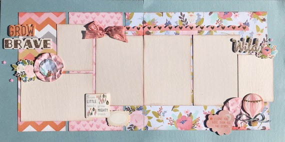 Grow, Brave, Wild - From Little Seeds...Grow Mightly Trees - Girl  2 page Scrapbooking Layout Kit or Pre Made Pages