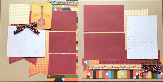 Good Vibes - Let the Good Times Roll 2 Page Scrapbooking Layout Kit or Premade Scrapbooking Pages