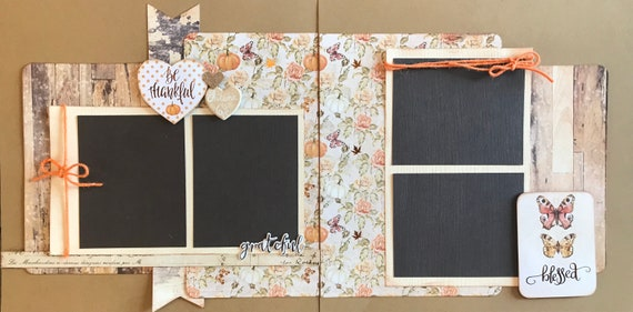 Be Thankful, Grateful, Blessed - Autumn is Love 2 Page Scrapbooking Layout Kit or Pre Made Scrapbooking Pages