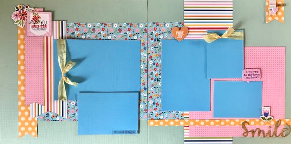 You Brighten the Journey - Smile  2 Page Scrapbooking layout Kit or Premade Scrapbooking Pages