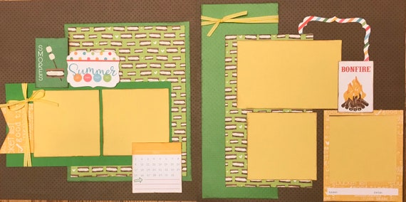 S'Mores Summer  - Go, See, Eat, Do  2 page Scrapbooking Layout Kit or Premade Pages