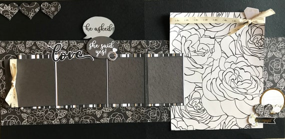 He Asked, She Said Yes!  Engagement 2 Page Scrapbooking Layout Kit