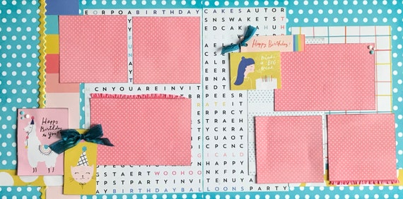 Happy Birthday to you - Make a Big Wish!   2 Page Scrapbooking layout KIt or Premade Scrapbooking Pages