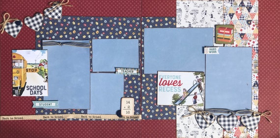 School Days - Everyone Loves Recess 2 Page Scrapbooking Kit or Premade Scrapbooking Pages