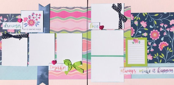 Love Grows Wild - always Make it happen 2 Page Scrapbooking layout Kit or Premade Scrapbooking Pages