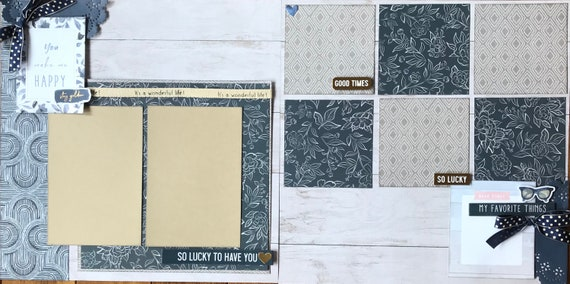 You Make Me Happy - So Lucky to Have You 2 Page Scrapbooking Layout Kit