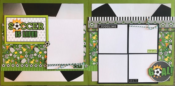 Soccer is Life! - Goal!, 2 Page Scrapbooking Layout Kit or Premade Scrapbooking Pages