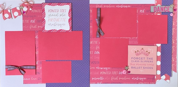 Pointed Toes, Grand Plie, Pirouette, and Arabesque - Ballet 2 page scrapbooking layout kit or Premade Scrapbooking Pages