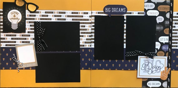 Create and Inspire - Big Dream - Big Day 2 page scrapbooking kit or Premade Scrapbooking Pages