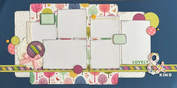 Lovely and Kind 2 Page Scrapbooking layout Kit or Premade Scrapbooking Pages