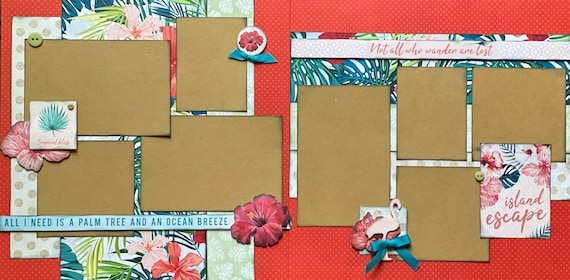 Island Escape - All I Need is a Palm Tree and Ocean Breeze 2 Page Scrapbooking Layout Kit or Premade Scrapbooking Pages