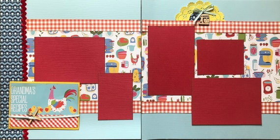 Grandma's Special Recipes 2 Page Scrapbooking Layout Kit or Premade Scrapbooking Pages