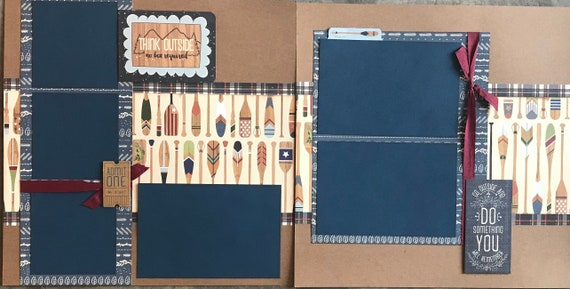 Think Outside, No Box Required - Go Outside and Do Something You'll Remember 2 page Scrapbooking Layout Kit or Premade Pages