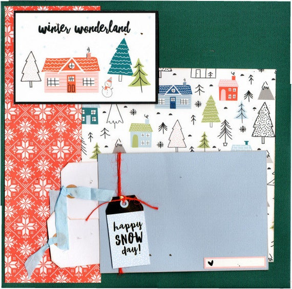 Winter Wonderland  - Happy Snow Day - Winter 2 Page Scrapbooking layout Kit