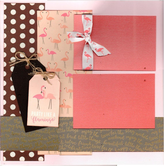 Party Like a Flamingo 2 Page Scrapbooking layout Kit or Premade Scrapbooking Pages