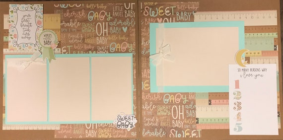 Your First Breath Took ours Away-Baby - 2 page Scrapbooking Layout Kit or Pre Made Pages