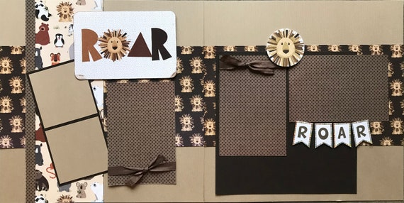 ROAR Lion / ZOO  2 Page Scrapbooking Layout Kit or Premade Pages