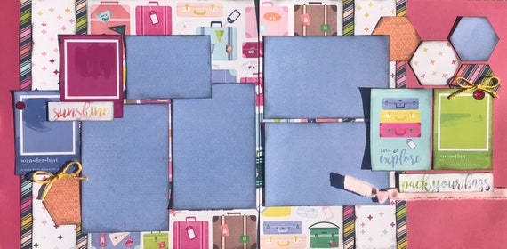 Let's Go Explore! 2 Page Scrapbooking layout Kit or Premade Scrapbooking Pages