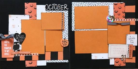 You're the Pumpkin to my Spice - Pumpkin Spice on my Mind 2 Page Scrapbooking Layout Kit or Premade Scrapbooking Pages