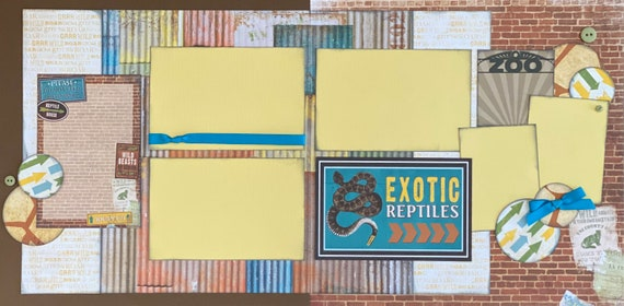 Exotic  Reptiles - Zoo 2 Page Scrapbooking Layout Kit or Premade Pages