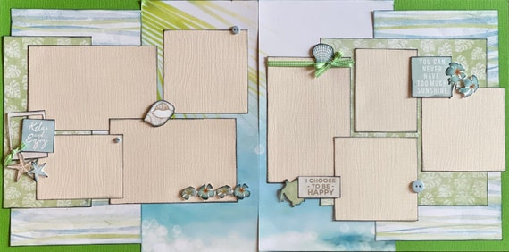 Relax and Enjoy - You Can Never Have Too Much Sunshine 2 Page Scrapbooking Layout Kit or Premade Scrapbooking Pages
