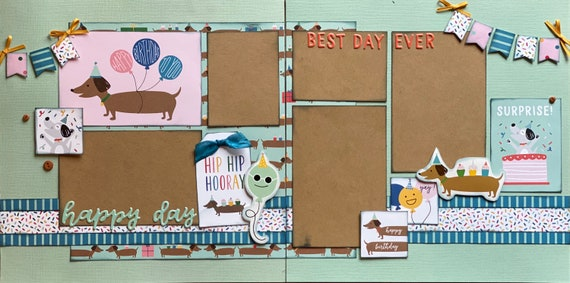 Happy Birthday to you!  Hip, Hip, Hooray! 2 Page Scrapbooking layout KIt or Premade Scrapbooking Pages