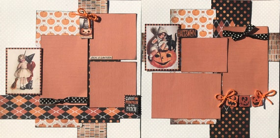 Cutest Pumpkin in the Patch 2 Page Scrapbooking Layout Kit or Premade Scrapbooking Pages