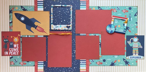 We Come in Peace - Explorer 2 Page Scrapbooking Layout Kit or Premade Scrapbooking Pages