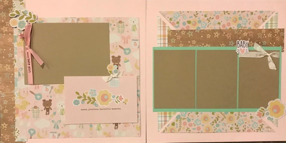 Sweet, Precious, Beautiful Moments - Sweet Baby Girl 2 page Scrapbooking Layout Kit or Pre Made Pages