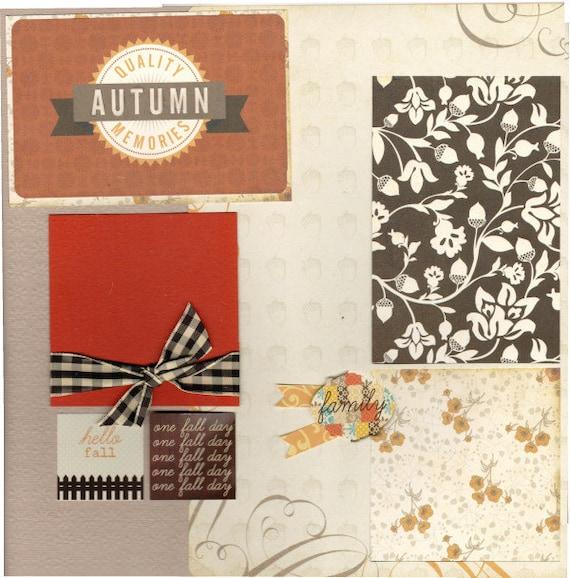 Autumn Memories, 2 page scrapbooking layout kit