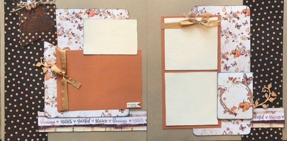 Give Thanks, Our Happy Life 2 Page Scrapbooking Layout Kit or Pre Made Scrapbooking Pages