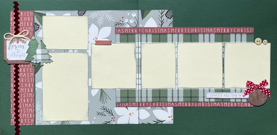 Merry and Bright - Jingle All the Way 2 Page Scrapbooking Layout Kit or Premade Scrapbooking Pages
