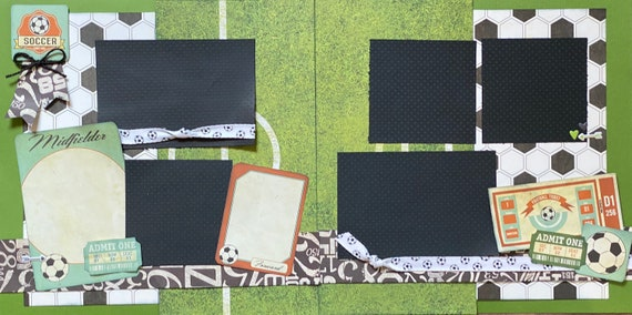 Soccer Game Time - 2 page Scrapbooking Layout Kit or Premade Scrapbooking Pages