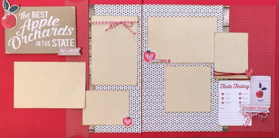 The Best Apple Orchards in the State 2 Page Scrapbooking Layout Kit or Pre Made Scrapbooking Pages