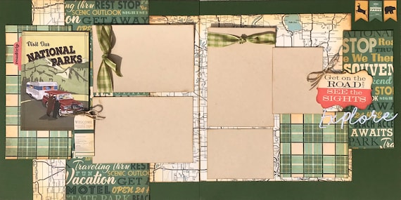 Visit Our National Parks - Road Trip 2 page Scrapbooking layout kit or Premade Scrapbooking Pages