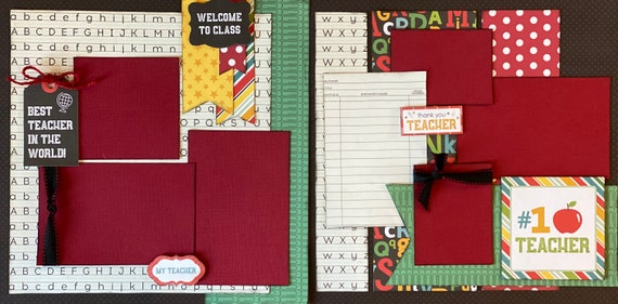 Best Teacher in the World - Welcome to Class 2 page Scrapbooking Kit or Premade Scrapbooking Pages