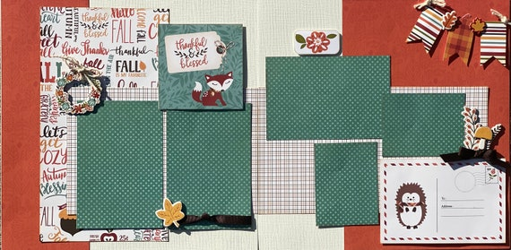 Thankful and Blessed 2 Page Scrapbooking Layout Kit or Pre-Made Scrapbooking Pages