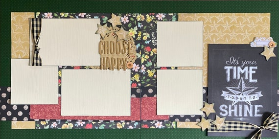 Choose Happy - It's Your Time Today to Shine 2 Page Scrapbooking Layout Kit or Premade Scrapbooking Pages