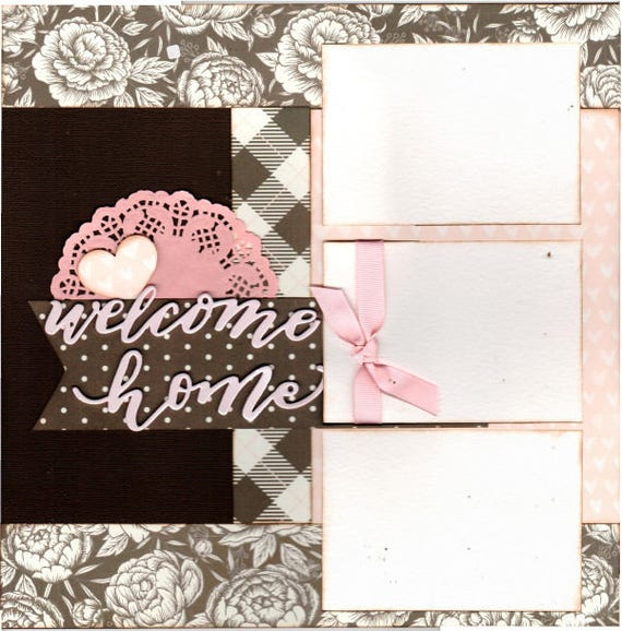 Welcome Home - / House + Love = Home -  2 Page Scrapbooking Layout Kit