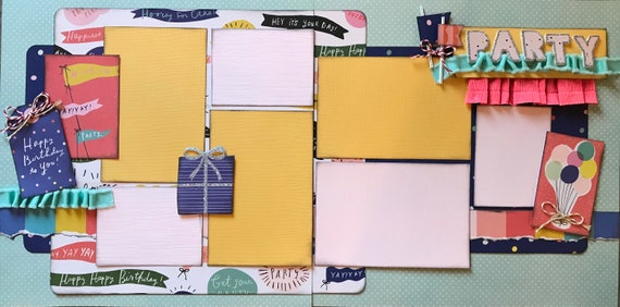 PARTY - Happy Birthday to You! 2 Page Scrapbooking layout KIt or Premade Scrapbooking Pages