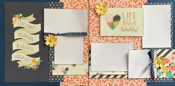 Live Simply, Dream Big, Be Grateful, Laugh Lots 2 Page Scrapbooking Layout Kit or Premade Scrapbooking Pages