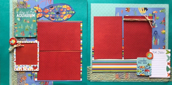 A Day at the Aquarium  2 Page Scrapbooking Layout Kit or Premade Scrapbooking Pages