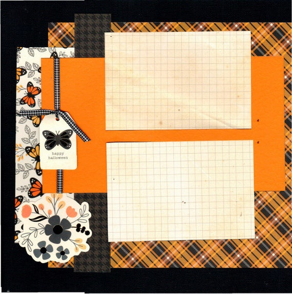 Happy Halloween - Butterfly , 2 Page Scrapbooking Layout Kit