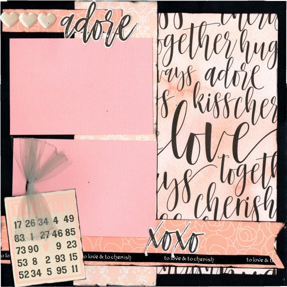 Adore- Valentines Day *** Single ****Page Scrapbooking Layout Kit