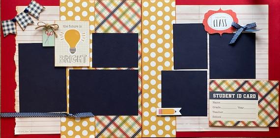 3rd Grade Scrapbooking Kit Bundle -  4 page Scrapbooking Layout Kit or Pre Made Pages - 2 - 2 Page layout kits